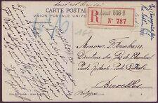 France Military pc Turkey 1920 Registered to Belgium Tresor Postes Unit 506 B