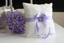 Violet Wedding Ring Pillow and Flower Girl Basket  Light Purple Bearer Pillow