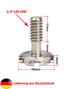 """1/4"""" Zoll Geräteschraube Stativschraube mit D-Ring 21mm Länge"""