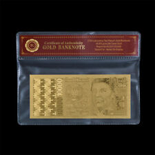 WR 1996 Portugal 10000 Escudos Banknotes 24K Gold Foil Plated Note In COA Sleeve