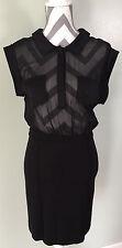 BEBE Black Sheer See Through Collared Skirt Suit Pocket Shirt Dress Skirt Size S