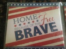 Set of 2 * HOME OF THE FREE because of the BRAVE * VFW Patriotic COASTERS * NEW