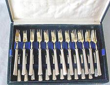 Vintage German Set Of 12 Desert Forks and Knives 800 Silver