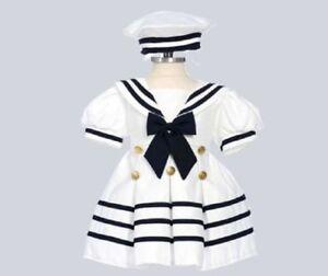 Girls sailor dress infant toddler White matching hat full set fleet week formal
