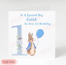 Personalised Boys Peter Rabbit 1st Birthday Card Son Grandson Godson Nephew