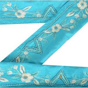 Sanskriti Vintage Sari Border Indian Craft Blue Trim Hand Beaded Sewing Lace