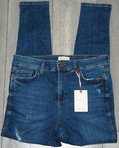NEW Womens🦋F&F🦋blue stretch disstresed skinny denim jeans size 14
