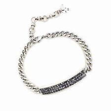 Lucky Brand Silver Tone Shiny Pave Stone Chain Bracelet