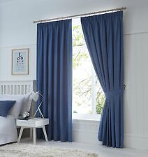 Fusion Dijon Denim Luxury Thermal / Blackout Pencil Pleat Fully Lined Curtains
