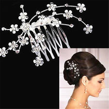 Womens Crystal Rhinestone Plum Flower Bridal Hair Pins Clips Headband Headwear