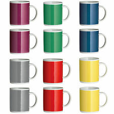 Set Of 12 Tea Coffee Mugs Cups 6 Colours Berry Yellow Green Red Blue Grey New