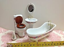 Dollhouse Miniature Ceramic Bathroom Furniture Pink/White 1:12 Bath/Toilet/Basin