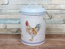Country cockerel metal biscuit canister storage jar