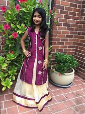 "22"" Age 2 - 3 Lehenga Choli Indian Bollywood Kids Dress Girls Skirt Top Plum"