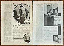 2 Johnson's Liquid Wax ads for 1930 original vintage retro print art illus home