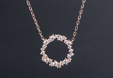 New 925 Sterling Silver Clavicle Chain Round Charm Circle Pendant Necklace