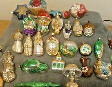 Vtg Lot of 30 West German Poland Czech Figural Blown Glass Christmas Ornaments