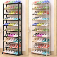 10 Tier Shoes Heels Storage Organiser Stand Shelf Rack Holds 30 Pairs Shoes New