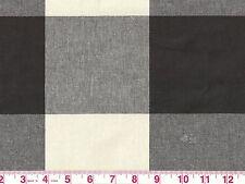 Large Check P Kaufmann Drapery Upholstery Fabric Buffalo Check Jet Black Ivory