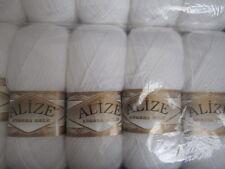KNITTING WOOL & YARN  5 x 100g   ALIZE  ANGORA GOLD - WHITE 55