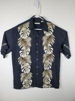 CAMPIA MODA Men's SS Button Shirt L Large Black Rayon Hawaiian Print Border Camp