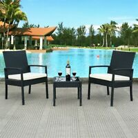 3 pcs Outdoor Rattan Patio Furniture Set Garden Furniture Cushion Seat