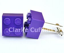 RARE LEGO® PURPLE BRICK CUFFLINKS SILVER PLATED -6 MTH GUARANTEE, WEDDING, GIFT