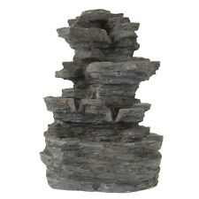 Tabletop Water Fountain LED Lights Cascading Stone Rock Falls 15.5 Inches High