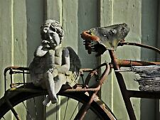 PHOTO COMPOSITION CHERUB ANGEL STATUE WEEPING RUSTY BIKE POSTER PRINT BMP10722
