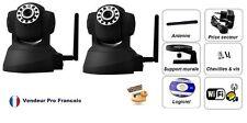Lot de 2 Caméra IP Réseau WIFI Motorisé Infrarouge IPHONE ANDROID BOX ADSL Noir