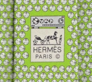 """Cool Brand New Tag Hermes Tie Heavy Silk Twill Green """"Monte Le Son"""" Rare Mint!"""