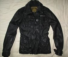 SUPERDRY Real Leather Black Jacket Size Small UK 10