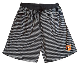 Majestic Men's Size 2XL-Tall Baltimore Orioles MLB Pin Stripe Black Shorts
