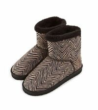Vera Bradley Cozy Booties in Zebra, Black Slipper Boots, Medium, Size 7-8