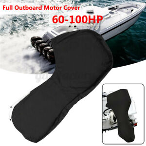 600D Black Boat Full Outboard Engine Cover For 60-100HP Motor Waterproof Anti UV