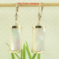 14k Yellow Solid Gold Leverback Curved White Mother of Pearl Dangle Earrings TPJ