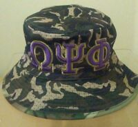 Omega Psi Phi Bucket Hat Camo (S/M 7 1/8 to 7 3/8) or (L/XL 7 1/2 to 7 3/4)