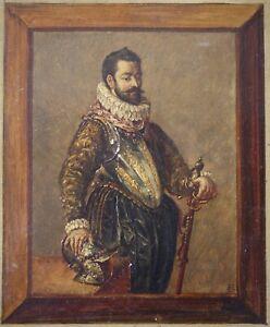 XIXe Siècle, Portrait, Homme en armure, Trompe l'oeil, Monogramme à identifier