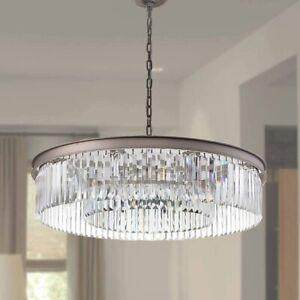 "Luxury Lighting MEELIGHTING Crystal Nickel Chandelier 33.5"" k9 Tiered NIB Gift"