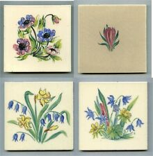 """4 Hand painted 4""""sq floral tiles by Packard & Ord, 1950s"""