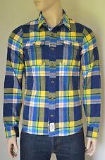 Nueva Abercrombie & Fitch Railroad muesca Franela Camisa Azul Marino Azul Y Amarillo Plaid M