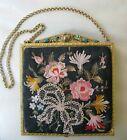 Antique Gold Enamel Jewel Frame Silk Forbidden Stitch Floral Embroidery Purse #3