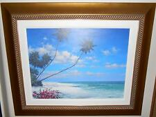 """RODEL GONZALEZ """"CALMING SHORE"""" FRAMED SIGNED ORIGINAL ACRYLIC PAINTING ON CANVAS"""