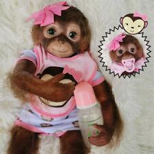 NPK 20'' Rebirth Baby Monkey Doll Cloth Body Newborn Animal Doll Toys Gifts