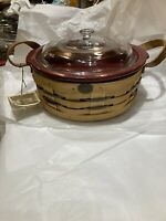 Vintage Peterboro Basket Co. Rare Covered Casserole Large Serving Brand New Tag!