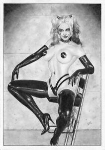 HARLEY QUINN CATWOMAN POISON IVY Joker Batman tv PIN-UP SEXY ORIGINAL ART Gotham