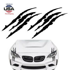 2pcs 15''Black Monster Claw Marks Decal Reflective Sticker For Car Headlight NEW