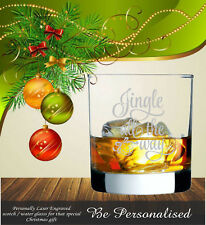 Personalised Christmas Scotch Water Whiskey Glass Engraved Present Gift  Teacher