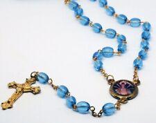 ROSENKRANZ Blau Taufe Kommunion KREUZ Kette MARIA Jesus GOTT HALSKETTE