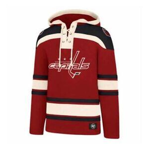 Washington Capitals Lacer Heavy Fleece Hoodie NHL sweatshirt hood large 47 Brand